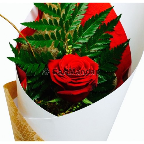 Single Red Rose Wrapped