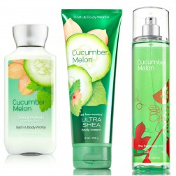 Bath & Body Works Cucumber Melon Deluxe Gift Set - Body Lotion - Body Cream & Fragrance Mist Full Size