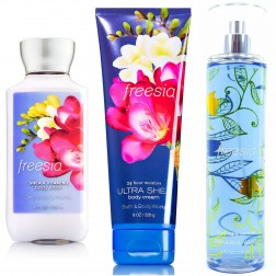 Bath & Body Works FREESIA Deluxe Gift Set - Body Lotion - Body Cream & Fragrance Mist Full Size
