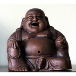 Laughing Buddha Clay Statue