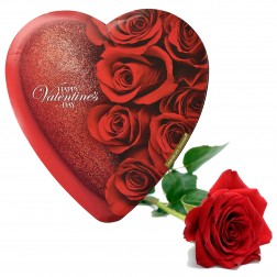 Elmer Valentine Heart Chocolates & a Red Rose